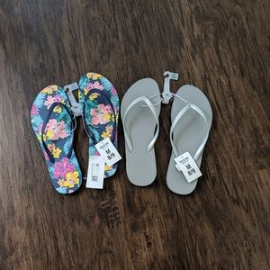 Mossimo Tropical Print and Grey Flip Flop Sandals